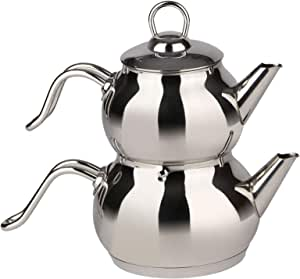 Turkish Tea Pot Stainless Steel,Silver,S1014