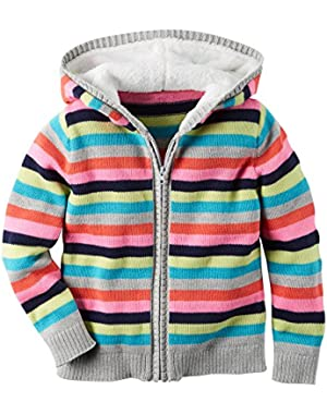 Girl Striped Sweater Knit Hoodie, Zipper Front; Multi-Colored