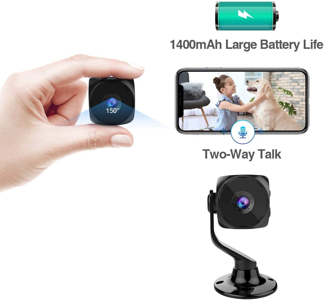 MINIKEAN Spy Camera Wireless Hidden Small Tiny Security Cameras 1080P HD Home Mini WiFi Nanny Cam with Talk Two Way Night Vision Indoor Motion Detection Covert Surveillance Video Camera for Cell Phone