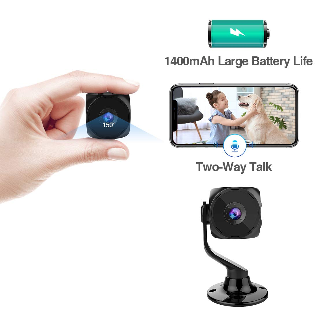 MINIKEAN Spy Camera Wireless Hidden Small Tiny Security Cameras 1080P HD Home Mini WiFi Nanny Cam with Talk Two Way Night Vision Indoor Motion Detection Covert Surveillance Video Camera for Cell Phone by MINIKEAN