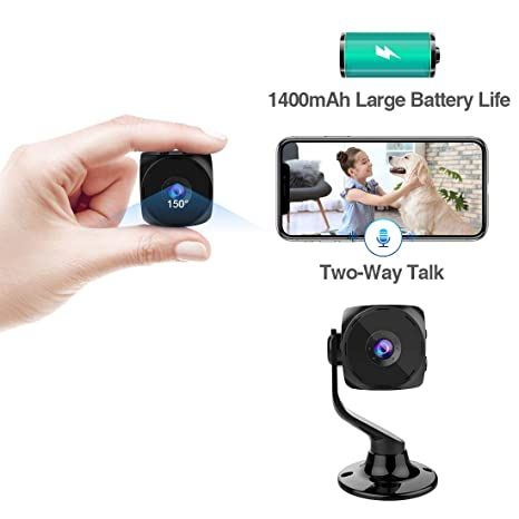 [New APP] Puoneto Spy Camera Wireless Hidden Small Tiny Security Cameras 1080P HD Home Mini WiFi Nanny Cam with Talk Two Way Night Vision Indoor ...