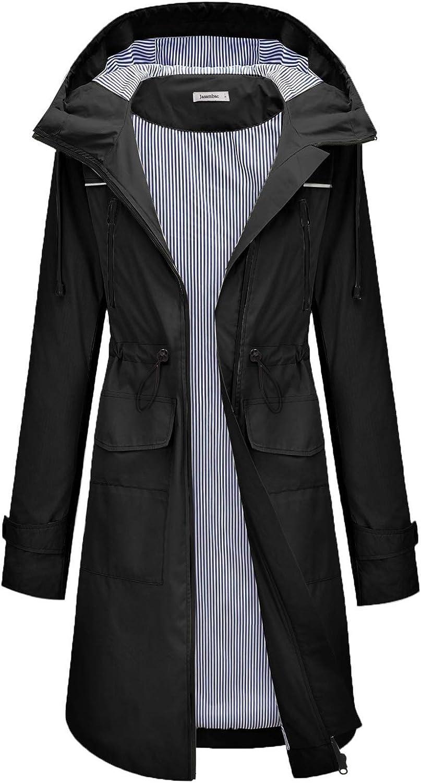 JASAMBAC Womens Rain Jacket Hooded Long Raincoat Tren Max 48% OFF Gifts Waterproof