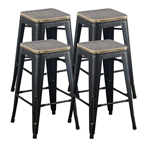 Swell Tmgy Industrial Barstools With Wood Seat Rustic 26In Metal Bar Chairs Antique Wooden Stool For Kitchen Dining Counter Height Bar Stools Set Of Machost Co Dining Chair Design Ideas Machostcouk