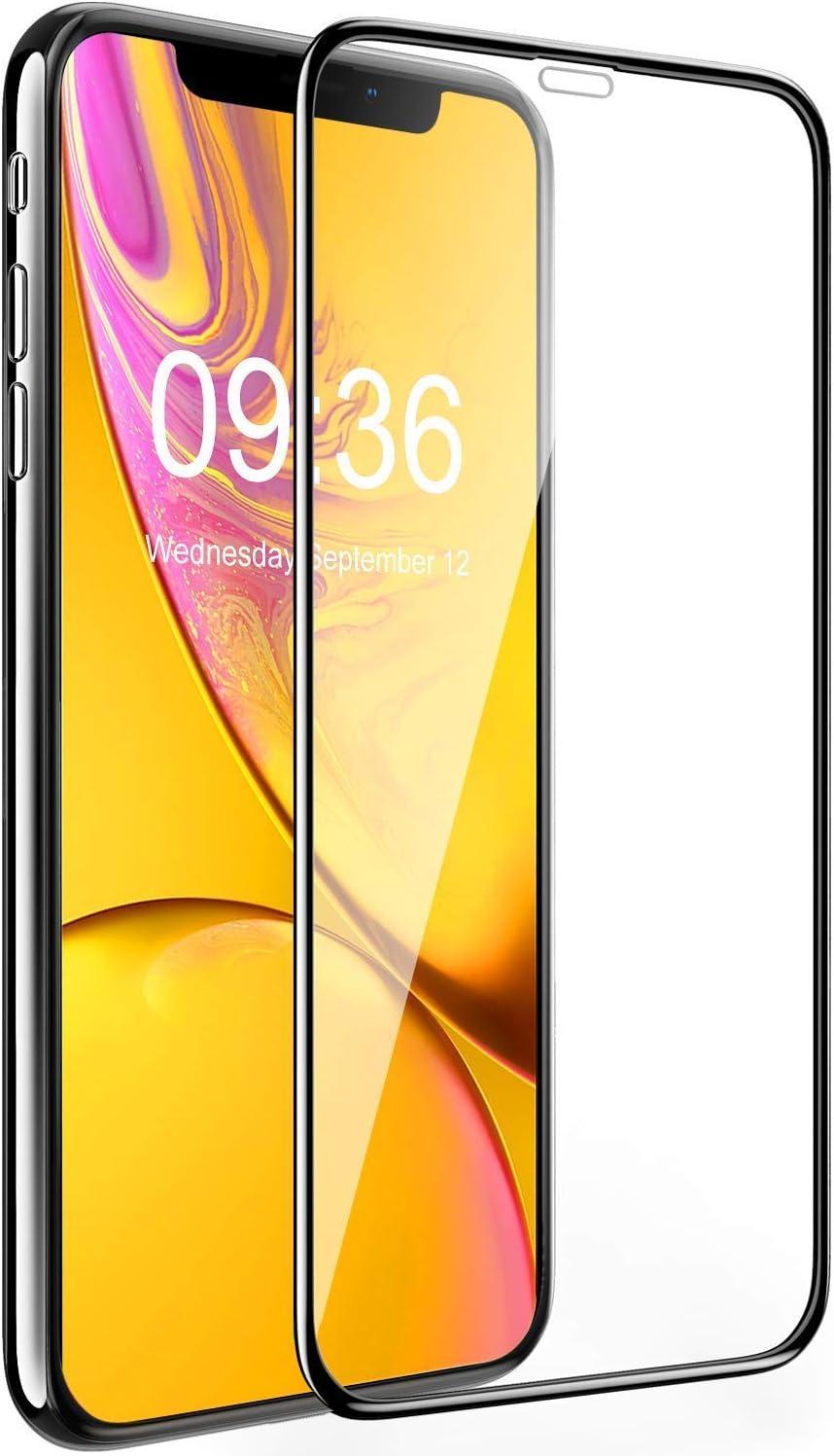 Bovon Protector Pantalla para iPhone XR (6.1 Pulgadas), Cristal Templado [Borde 3D] [Fácil Instalación] [Sin Burbujas] [Anti-Ralladuras] Protector de Pantalla Vidrio Templado para iPhone XR