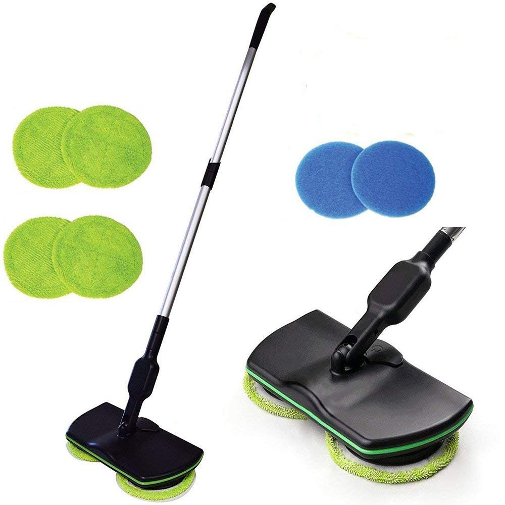 Electronic Wireless Mop,3 in 1 Cordless Spin Floor Cleaner for All Surfaces - Rechargeable Powered Floor Cleaner Scrubber Polisher Mop with 4 Microfiber Pads and 2 Polisher Pads for Indoor Use Steerfr