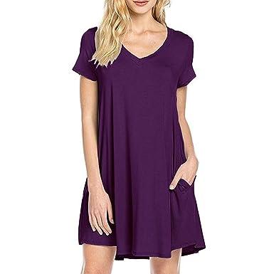 c745e9f287c Fee-lice Women Summer Short Sleeve T Shirt Dress Casual Summer V Neck Loose  Pockets Tunic Dresses (XL, Purple): Amazon.co.uk: Clothing