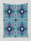 Arabian Tapestry by Ambesonne, Arabesque Pattern Tradicional Art Design Geometry Persian Damask Inspired Design, Wall Hanging for Bedroom Living Room Dorm, 60 W X 80 Inches, Turquoise