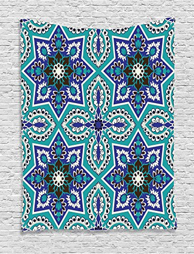 Ambesonne Arabian Decor Collection, Arabesque Pattern Traditional Islamic Art Geometric Decorative Persian Damask Art, Bedroom Living Room Dorm Wall Hanging Tapestry, Cobalt Blue Teal - Persian Decorative Arts