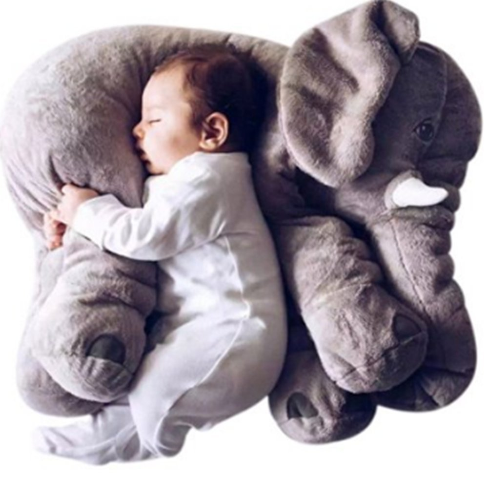 Blivener Baby Kids Soft Cute Stuffed Plush Infant Elephant Pillow Animal Sleep Toy Grey 15IN
