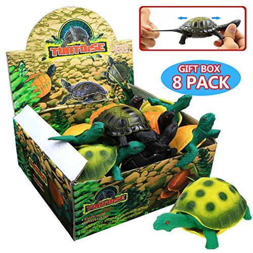 Turtle Toys,Sea Ocean Animal 5 Inch Rubber Tortoise Turtle Sets(8 Pack),Great Safety Material TPR Super Stretchy,Can Hide In Shell ValeforToy Bathtub Bath Pool Toy Party Favors Boys Kids by ValeforToy (Image #1)