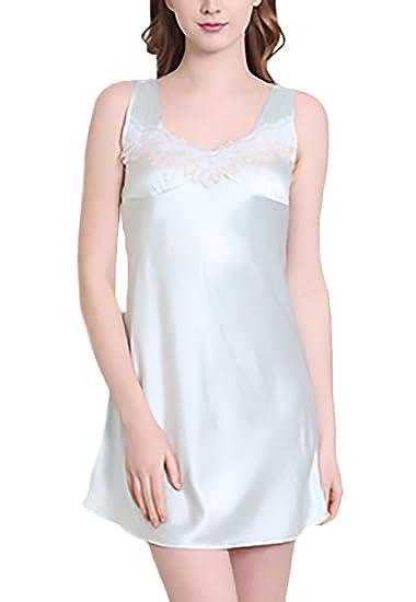 Pijamas Mujer Verano Camison Sin Mangas V Cuello Vestido Corto Sleepwear Elegantes Moda Con Encaje Ropa