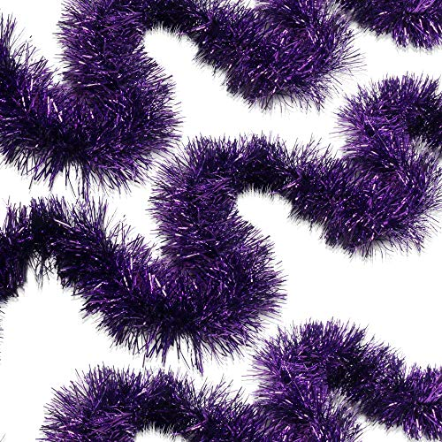 Decoration Garland (Violet Purple Tinsel Garland Celebrate a Holiday Christmas New Years Eve Party Indoor and Outdoor Decorations)