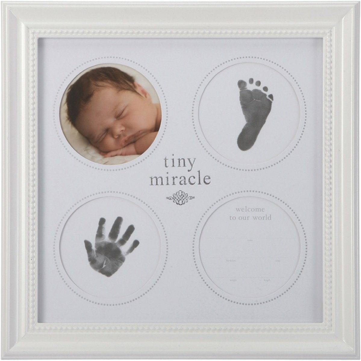 C. R. Gibson Keepsake Frame, Includes Non Toxic Black Ink Pad for First Prints, Measures 14 x 14 - Tiny Miracle Cr Gibson C.R. Gibson BHP13-10280 Other Gift Items - General
