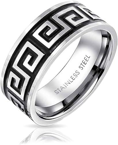 Men Women Fashion 8MM Stainless Steel Greek Key Spinner Wedding Band Ring