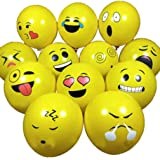 50pcs 12inch Latex Balloons for Happy Birthday Party Face Emoji Balloons Smile Printed Balloons Birthday Home Decoration…