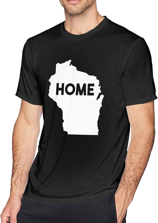 PLICQG Wisconsin is My Home Man's T-Shirt Casual T-Shirt Fashion Shirt