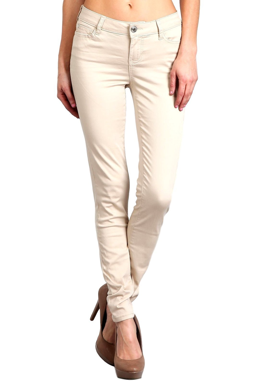 Celebrity Pink Women's Mid Rise Colored Skinny Pants CJ21038Z35 (Stone, 11/30)