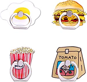 UnderReef Phone Holder Stand, Foods Cell Phone Ring Stand Holder 360 Rotation Hand Grip Stand Desk Car for iPhone Samsung Smartphone Tablet 4 Packs (Egg Burger Popcorn Tomato)