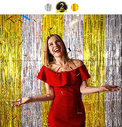 Yomiie 2 Pack Foil Fringe Curtain Photo Booth Backdrop Shiny Tinsel Door Props Perfect for Valentine, Birthday, Festival, Weddings, Baby Shower Party Stage Decorations (3.3 x 6.5ft, Gold & Silver)