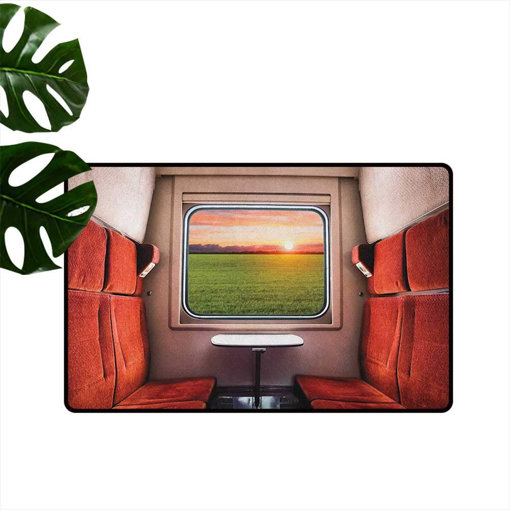 color03 W31\ Nature Entrance Door mat Fresh Nature Setting from Train Compartment Window Railroad Destination Travel Hard and wear Resistant W31 x L47 Red Green Cream