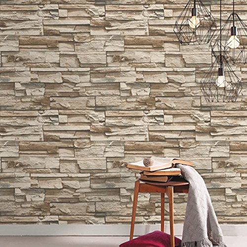RoomMates Stacked Stone Peel and Stick Wallpaper ()