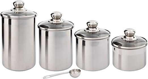 Beautiful Canisters Sets for the Kitchen Counter, Small Sized, 4-Piece  Stainless Steel with Glass Lids and 20 ml Measuring Scoop - SilverOnyx Tea  ...