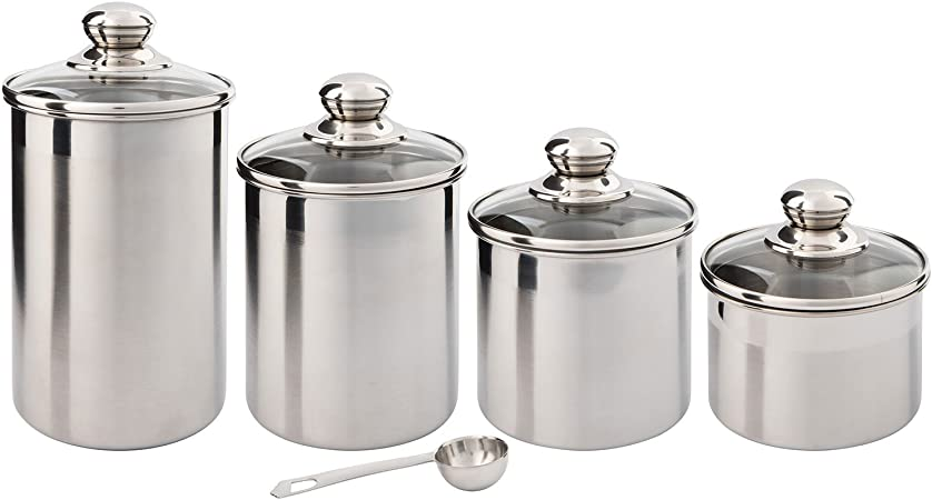 Steel Wrap Glass Jars Coffee Sugar Tea Kitchen Canister Storage Jar Containers