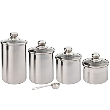 Beautiful Canisters Sets for the Kitchen Counter, Small Sized, 4-Piece Stainless Steel with Glass Lids and 20 ml Measuring Scoop - SilverOnyx Tea Coffee Sugar Canisters - 4pc Glass Lids