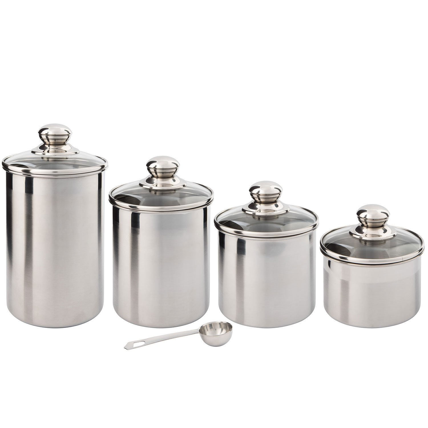 Oggi White Canister Set Part - 20: Beautiful Canisters Sets for the Kitchen Counter, 4-Piece Stainless Steel,  Small Sized