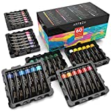 Arteza Acrylic Paint Set, 60 Colors / Tubes (.74 oz.) with Storage Box, Rich, High Quality Pigments, Non Fading, Non Toxic for the Professional Artist, Hobby Painters & Kids