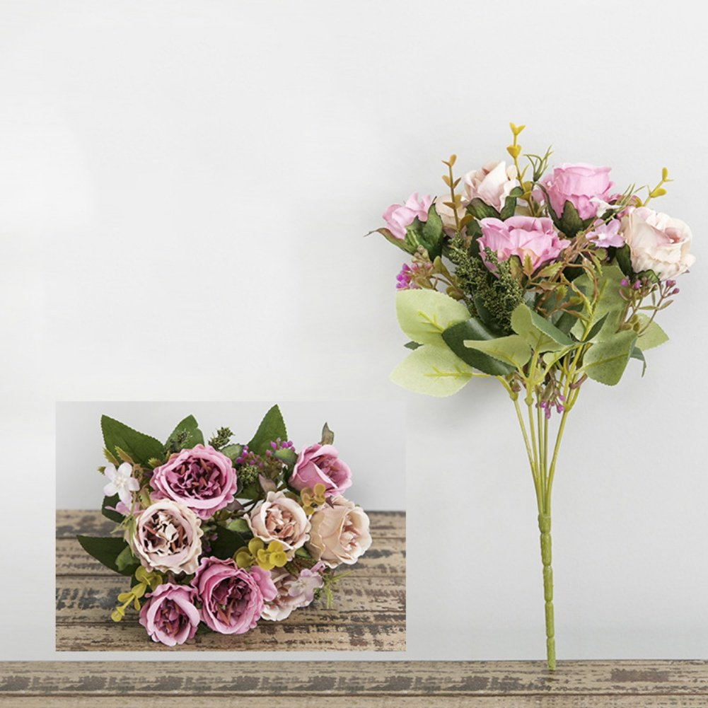 Artificial Mary Rose Flowers,Vivid Artificial Flowers with Long Stem for Flower Arrangement Home Office Wedding Decoration