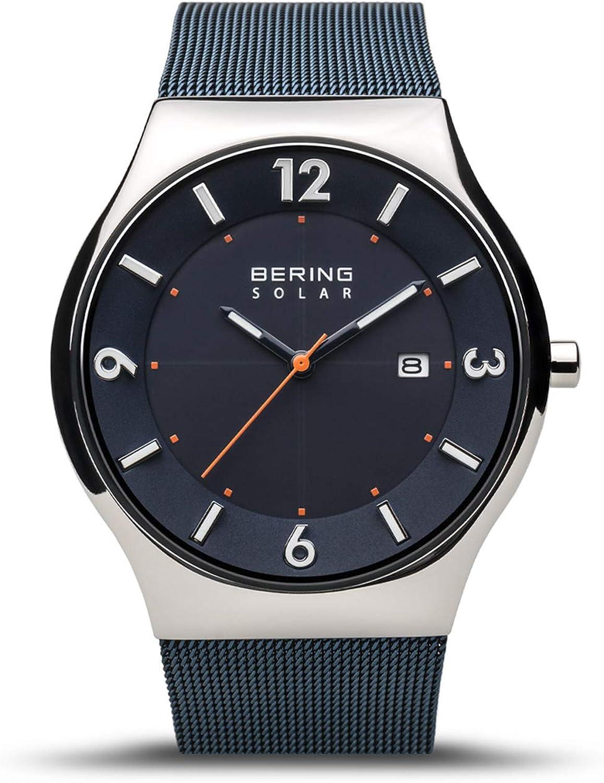 BERING Reloj Analógico para Hombre de Energía Solar con Correa en Acero Inoxidable 14440-307