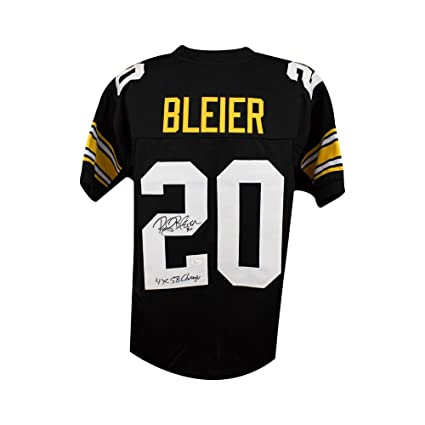 75b9d121e Image Unavailable. Image not available for. Color  Rocky Bleier Autographed  Steelers Custom Black Football Jersey ...