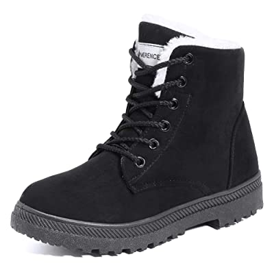 Women\'s Snow Boots Winter Suede Cotton Warm Fur Lined Ankle Boots Outdoor Anti-Slip Waterproof Booties Lace Up Platform Shoes Black | Snow Boots