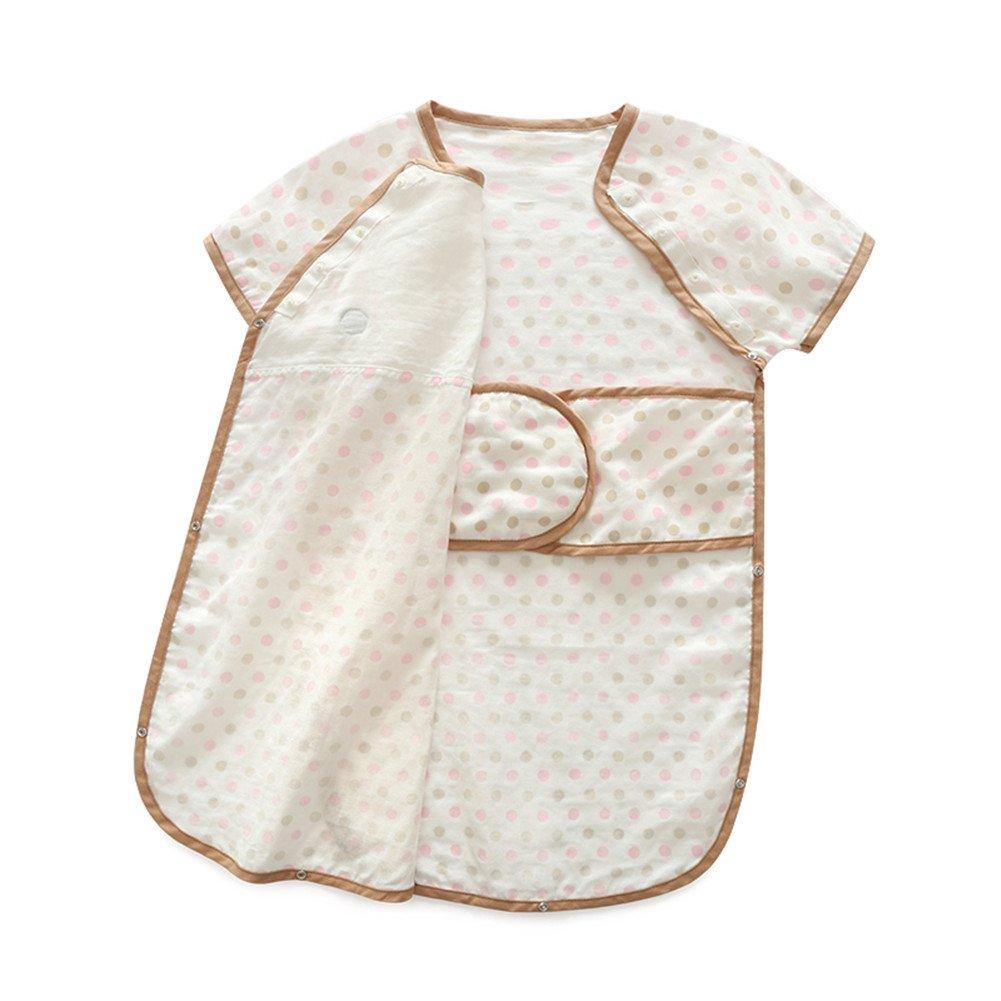 luyusbaby Sleepingバッグコットン半袖ベビー幼児用ウェアラブル毛布 B0736NHF4P Large|ピンクドット ピンクドット Large