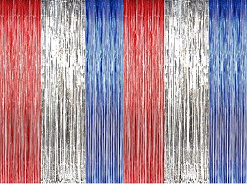 GiftExpress Foil Fringe Curtain (2, Red White Blue)