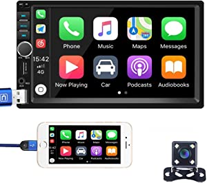 Hikity Autoradio Car Stereo Double Din 7 Inch Touch Screen Bluetooth FM Radio with USB AUX-in RCA Rear View Camera Input Port Support Mirror Link D-Play for Android iOS Phone + Backup Camera & Remote