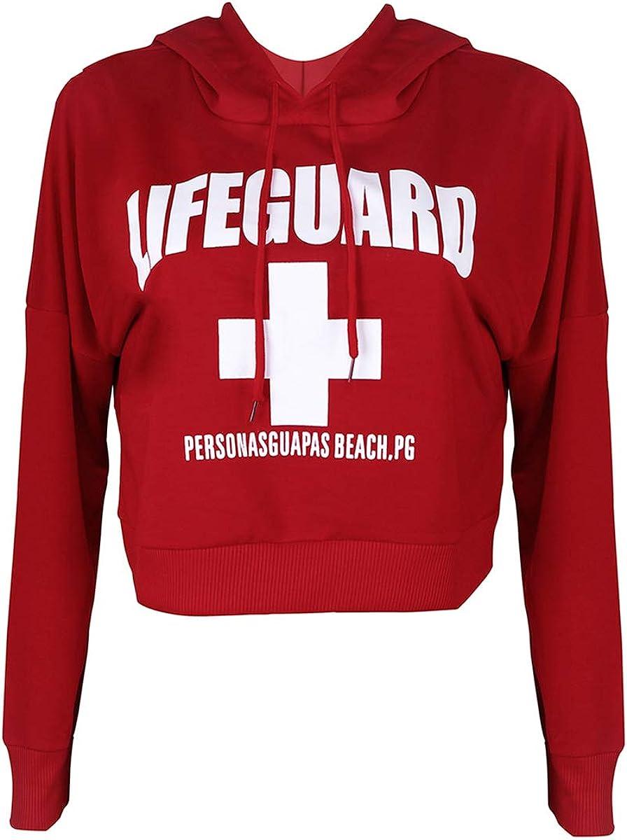ZMLIA Womens Lifeguard Letters Print Hooded Sweatshirt Drawstring Hoodies Crop Top