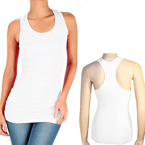 46deaf4a0fcf9f Amazon.com   3 Women Seamless Cami White Racerback Tank Top Stretch  Sleeveless Basic Sports   Sports   Outdoors