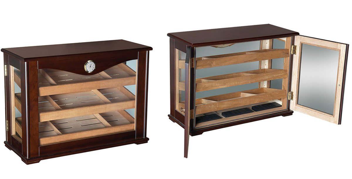 Prestige Import Group Marciano Counter Top Display Humidor w/ Reverisble Trays - Color: Dark Mahogany