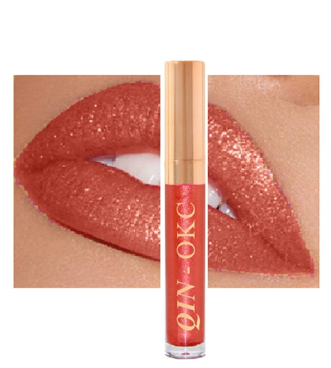 QIN - OKC Shimmer Liquid Lipstick Gloss - Long Lasting - Waterproof - Kiss proof - Super stay - High Shine Lip Stain - Glitter Lip gloss - 0.25 FL oz - (Sunset Gold Red) - Fashion Sense