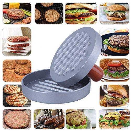 DS Hamburger Press Non-Stick Heavy Duty Veggie Aluminum Burger Patty Maker, BBQ Grill Hamburger Mold Press with Wood Handle for Halloween,Party -