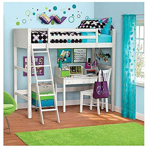 (Unbranded* Twin Bunk Loft Bed over Desk with Ladder Kids Teen Bedroom White Wood Furniture)