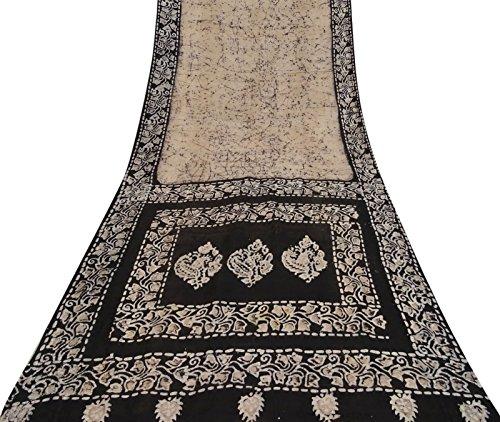 Silk Batik Fabric (Vintage Indian 100% Silk Light Peach Saree Batik Printed Ethnic Craft Fabric)