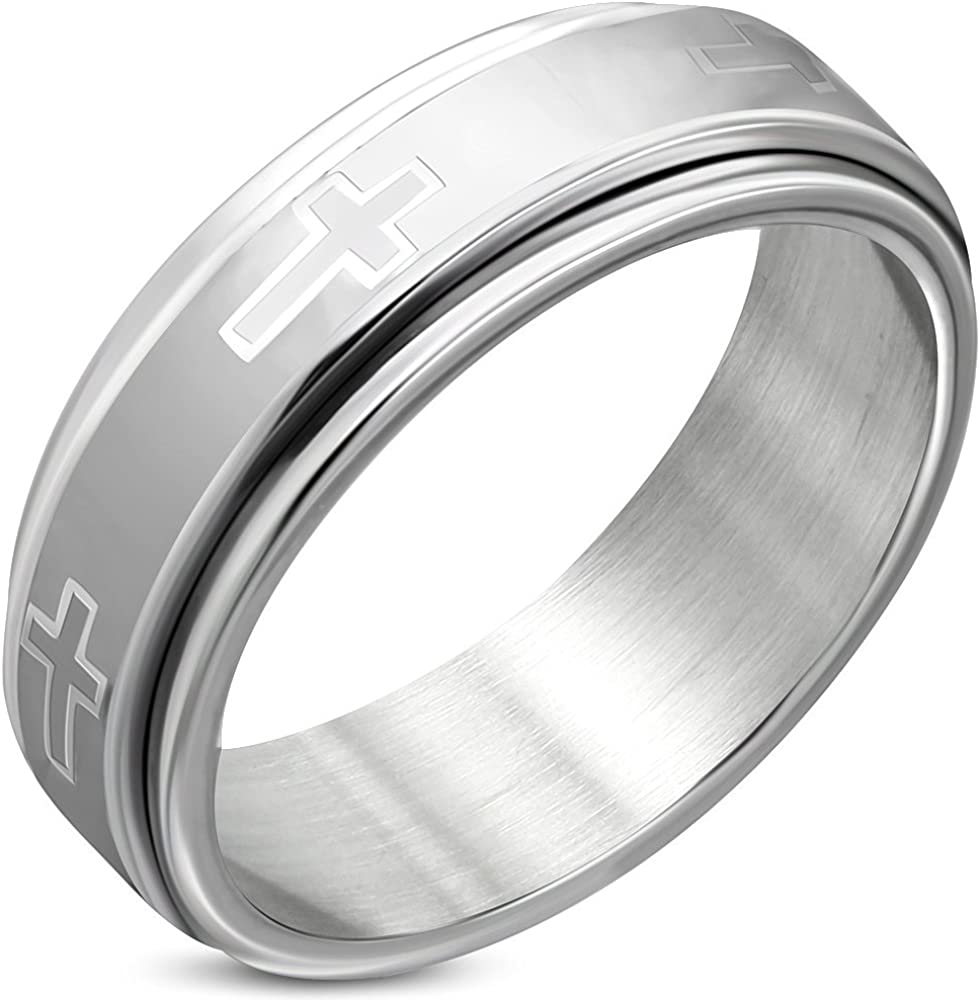 Stainless Steel Matte Finished Latin Cross Flat Band Ring