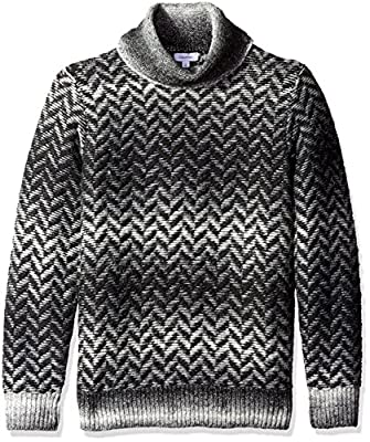 Calvin Klein Men's Broken Space Dye Herringbone Funnel Neck Sweater