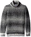 Calvin Klein Men's Broken Space Dye Herringbone Funnel Neck Sweater, Black Combo, X-Large