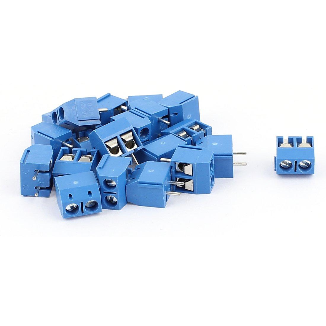 sourcingmap® 20Pcs AC 300V 10A HZ301-5.0 2P MONTAGE PCB Connecteur Bornier à vis sourcing map a15112100ux0173