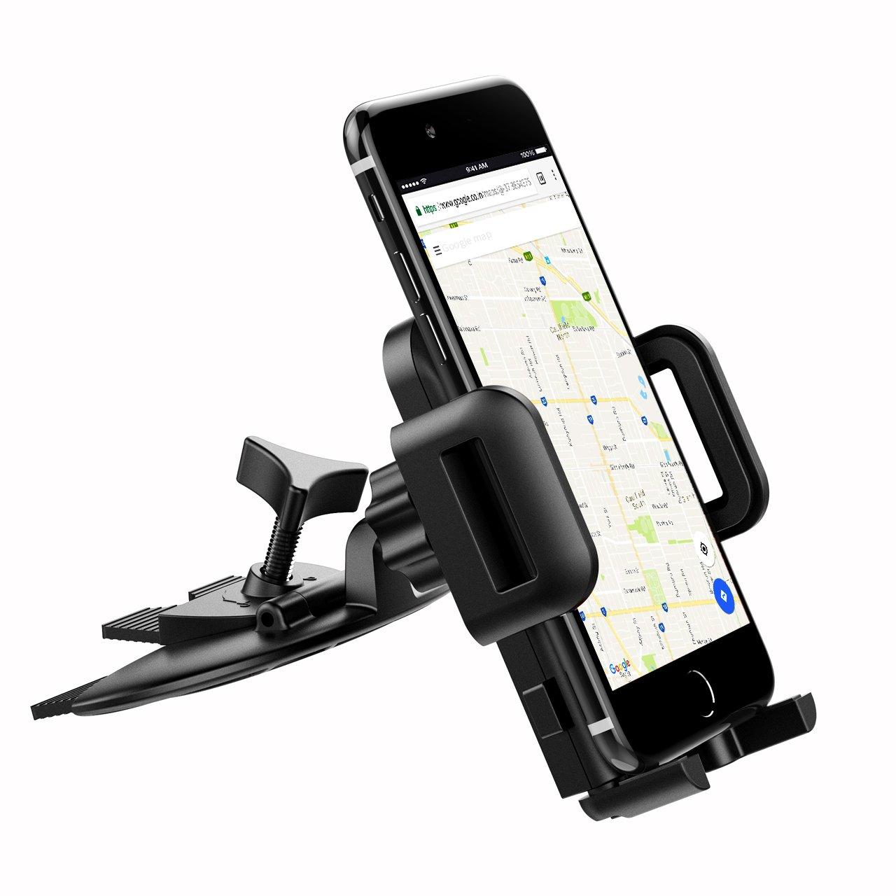 a0bf940f566 Mpow® Soporte Movil Coche CD, Soporte Móvil Coche Giratorio de 360 Grados, Soporte  Movil para Coche para el iPhone X 8 7 7 plus 6S 6, Samsung Galaxy S8 S9 ...