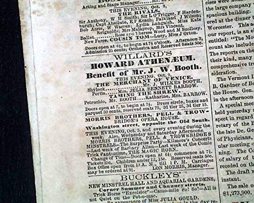 Newspaper Advertiser Daily (JOHN WILKES BOOTH Boston Theatre Performance REVIEW & AD1863 Civil War Newspaper BOSTON DAILY ADVERTISER, Oct. 9, 1863)